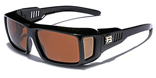 (Polarized Rectangular Fit Over Sunglasses with Side Shields BROWN)