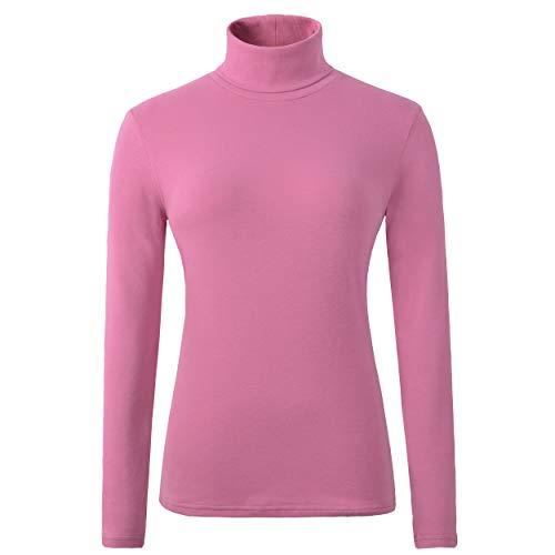 (HieasyFit Women's Cotton Basic Thermal Turtleneck Pullover Top(Pink M) )