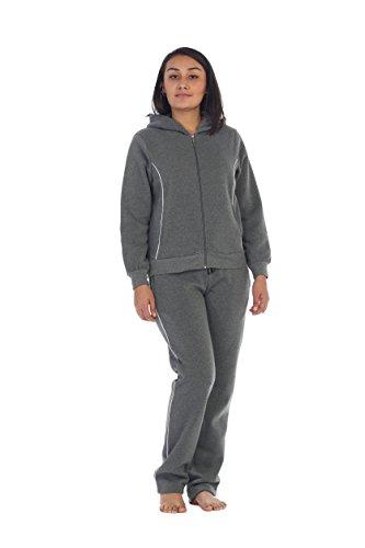 unik Women Fleece Sweatsuit Set, Dark Grey Size X-Large