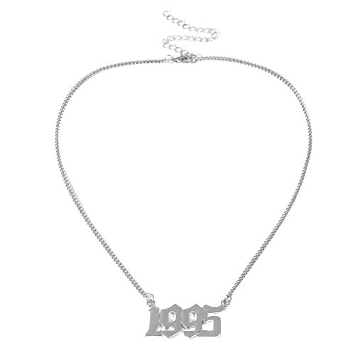 lightclub Fashion Women Roman Numerals 1995 Pattern Pendant Chain Necklace Jewelry Gift - Silver Elegant Necklace for Women