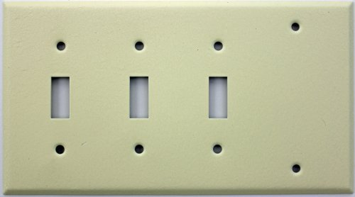 Ivory Wrinkle Four Gang Wall Plate - Three Toggle Switches One Blank