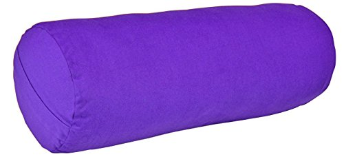 YogaAccessories MAX Support Deluxe Round Cotton Yoga Bolster, Purple