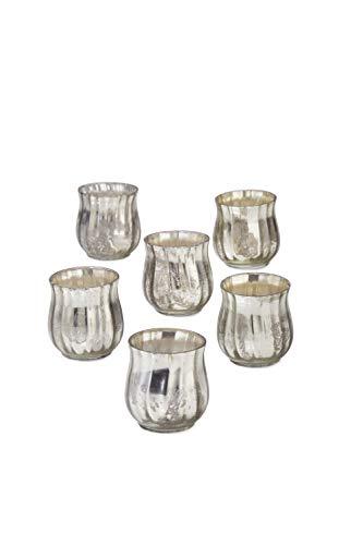 (Serene Spaces Living Antique Silver Bell Votive Holder, Set of 6, Measures 2.5
