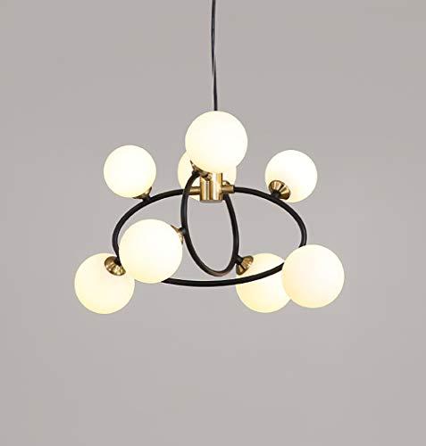 H.JPT Chandelier, Ceiling Light Button Glass Lampshade Molecular Chandelier, Suitable for Bedroom Living Room, Etc. G9 Bulb 220v, Black, 8 -