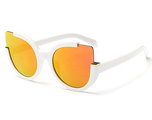 Mujeres Mujer Sol De Blanco De Sol Gafas Sol Weiß Para Tonos De KLXEB Gafas Uv400 Espejo Señoras De Redonda Gafas Lente p48q6