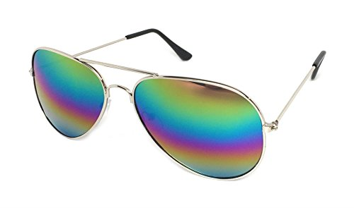 My Shades Aviator Sunglasses Silver Mirror Classic Metal Teardrop or Color Mirror Assorted (Silver, - Sunglasses Color Multi