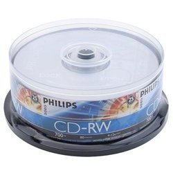 25 Philips CD-RW 4X-12X 80Min/700MB (Philips Logo on Top) by Philips