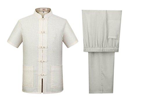 Nanxson(TM Men Tang Suit Summer Linen Short Sleeve Shirt and Pant Set Sportwear YDTZM0007 (XL/Tag180, Beige) ()
