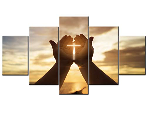 TUMOVO Wall Crosses Decor Jesus Hands Prayer Paintings Wall Art Panels Large for Living Room Christian Pictures 5 Piece Canvas Modern Artwork Home Decorations Giclee Framed Ready to Hang(60''Wx32''H)