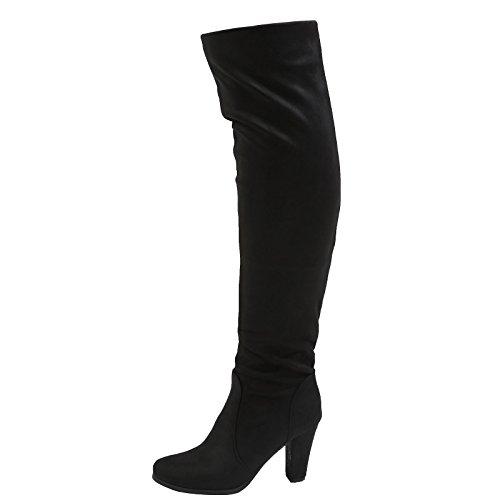 Knie Stiefel dehnbare Liza erste Wildleder hohe das Faux über Mode Womens schwarz Füße Blockabsatz Fw18KqSqC