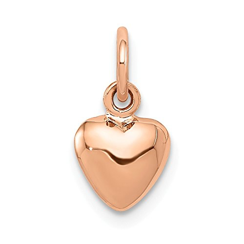 14k Rose Gold Puffed Heart Charm or Pendant, 7mm (1/4 ()