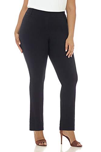 Rekucci Curvy Woman Plus Size Modern Straight Leg Pant w/Tummy Control (18WSHORT,Navy)