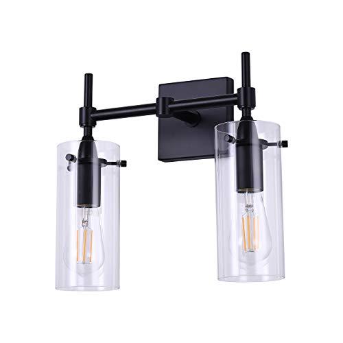 (Effimero 2 Light Bathroom Vanity Light | Black Hallway Wall Sconce)