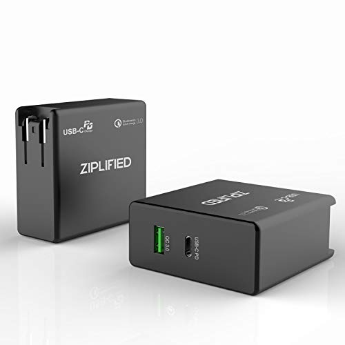 USB PD Charger, Ziplified 60W Power Delivery 3.0 & QC 3.0 Dual Port Charger for MacBook 12 Inch / Pro 2016 / iPhone XS / Max / XR / X / Galaxy S9 / Pixel 2/3/XL ETL Certified