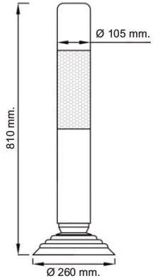 2- PIlonas + Torniller/ía Pilona de polietileno flexible en color naranja con 1 tira reflectante y base de caucho
