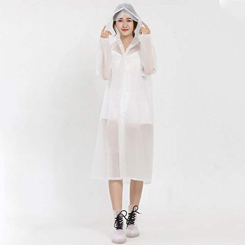 Guyuan Gele Colle paississement Adulte Voyage en Plein air cologique Robe lgre impermable Pluie Transparente (Color : Transparent White, Taille : M)