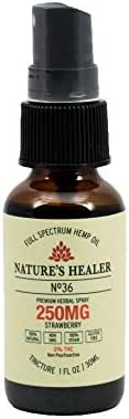 Nature's Healer Hemp Oral Spray- Pain Relief, Reduce Stress Anxiety, Improve Sleep, Anti-Inflammatory, Muscle Joint Support - Herbal Supplement - Strawberry 1 Fl oz (250MG)