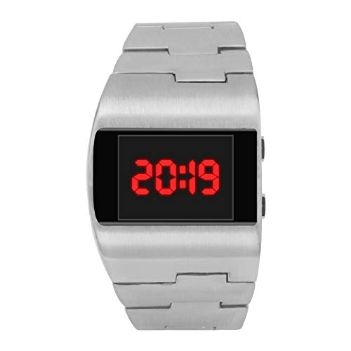 AGUIguo Watches Cool Fashion Handsome Wide Dial Steel Belt Monochrome Digital Electronic Watch (E) (Difference Between Analog Electronics And Digital Electronics)