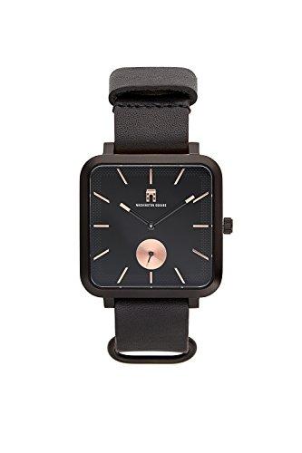 Washington Square's All-Black Greenwich Slim - 38mm Classic Square Watch - Japanese Quartz Movement - Genuine Italian Leather Strap