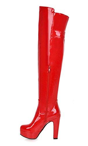 fcd031bffd14 YE Damen Lack High Heels Plateau Overknee Stiefel mit Blockabsatz Schnallen  Reißverschluss Boots Wasserdichte Winterschuhe  Amazon.de  Schuhe    Handtaschen