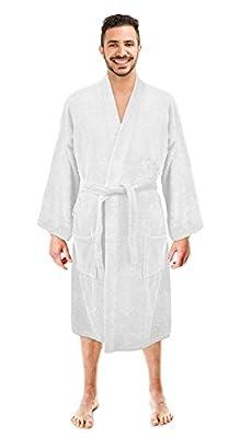 Soft Touch Linen Men's Robe, Turkish Cotton Terry Kimono Spa Bathrobe