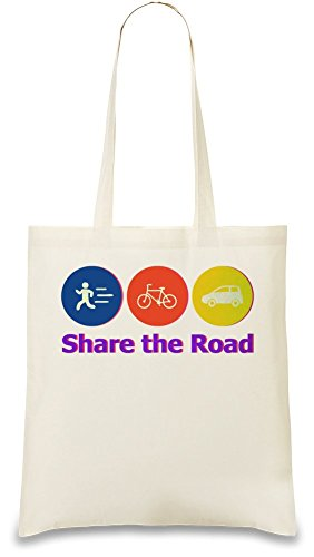 Share The Road Custom Printed Tote Bag| 100% Soft Cotton| Natural Color & Eco-Friendly| Unique, Re-Usable & Stylish Handbag For Every Day Use| Custom Shoulder Bags By Bang Bangin