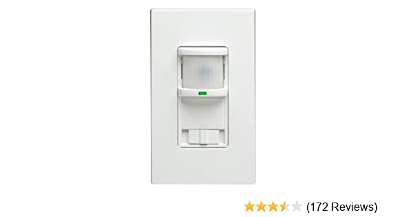 Leviton PR150-1LW 500W, Single Pole, 150 Degrees, 350 sq. ft. Passive Infrared Wall Switch Occupancy Sensor, Residential Grade, White - Motion Activated ...