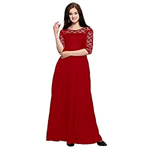 Fashion2wear Women's Crepe 3/4 Sleeve Gown