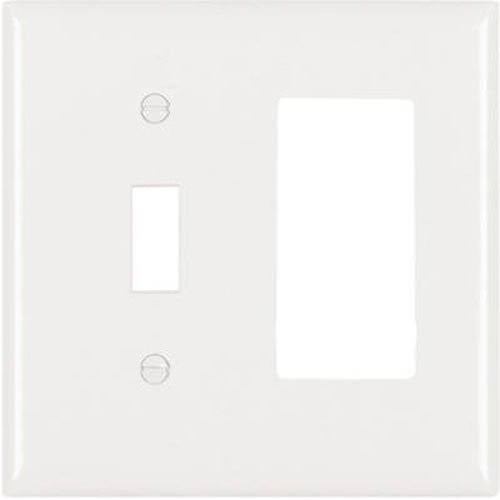White Toggle Switchplate - Legrand - Pass & Seymour SP126WU Plastic Wall Plate Two Gang Toggle and Single Decorator Opening without Line, White