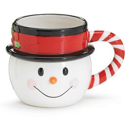 Christmas Candy Cane Mug - Nippy Noses Snowman Mug Ceramic Christmas Candy Cane