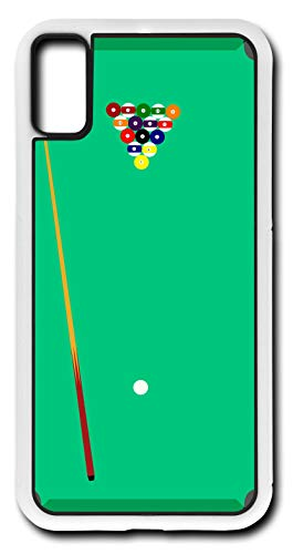 iPhone X Case Pool Table Cue Ball Stick Chalk Eight Ball Solids Stripes Customizable by TYD Designs in White Rubber
