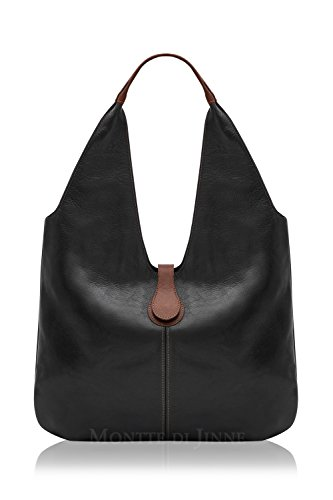 Leather Light Shoulder Slouchy Chocolate Gift Women Di Jinne Luxury Black 100 Soft Italian Bag Montte for wx0XUqO1Wx