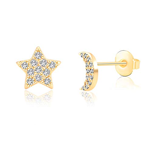 Moon and Star Earrings Gold for Women Girls Hypoallergenic for Sensitive Ears,Tiny Diamond Earrings Studs Nickel Free Stainless Steel Jewelry Gift