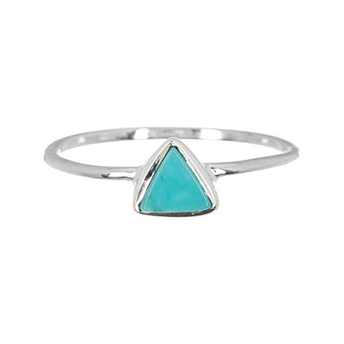 Pura Vida Silver Triangle Stone Ring - .925 Sterling Silver, Genuine Turquoise Jewelry Sizes 5-9