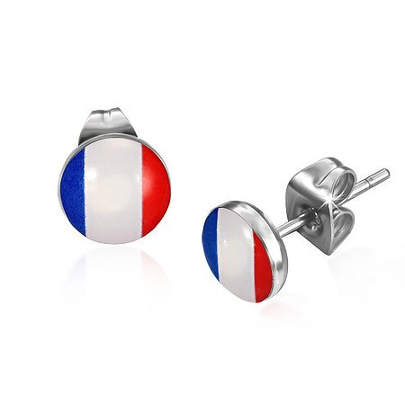 Flag of France Circle Stud Earrings Stainless Steel Elegant Unique French