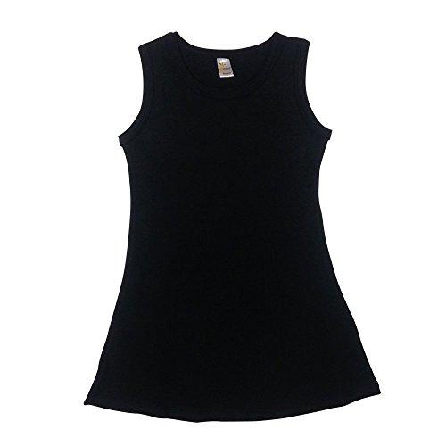 Dress Black Toddler (The Laughing Giraffe Toddler Little Girls Blank Cotton Summer Sleeveless Black Dress)
