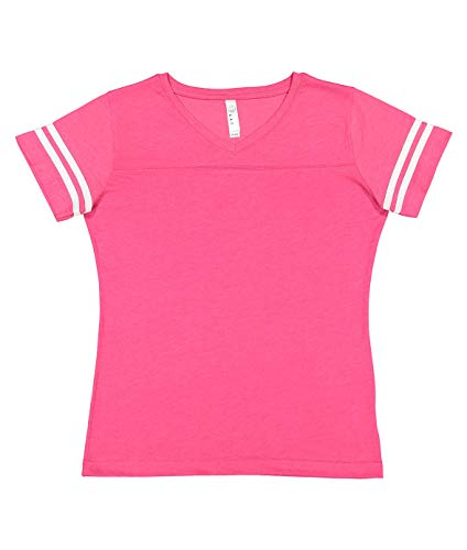 Old Football Jersey - LAT Ladies' Fine Jersey Short Sleeve Football Tee (Vintage Hot Pink/Blended White, X-Large)