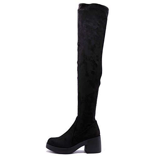Ollio Women Shoe Span Stretch Faux Suede or Faux Leather Platform Thigh-high Zip Up Long Boots Black-suede