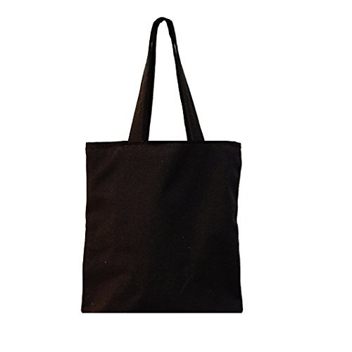 Nuni Unisex DIY Plain Solid Black Canvas Tote Bag (Small, Black/ Small Tote)