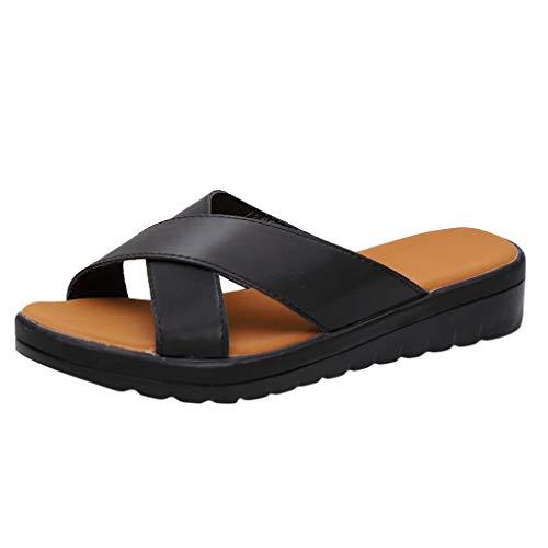 - Womens Platform Sandals Wedge Sandals Open Toe Halter Ankle Strap Faux Leather Summer Flat Roman Sandals Black