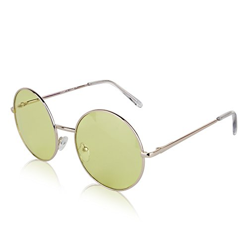 Retro Round Flash Sunglasses Reflective Circle Lens Alloy Eyeglasses Men Women - Retro Sunnies