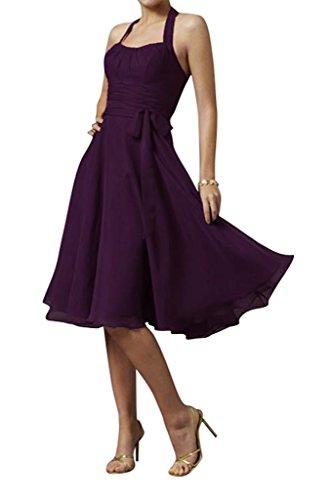Bride Schleife Traube Partykleid Modern Neckholder Chiffon Abendkleid Gorgeous Knielang Cocktailkleid 7d1x7w