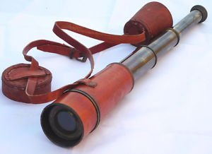 Brass Telescope With Leather Case Halloween Costume Accessory Marine Spyglass