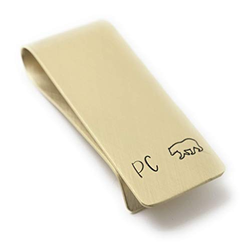Papa Bear Custom Brass Money Clip Wallet - Engraved with Message from Kids - Bear Claw Gift for Dad