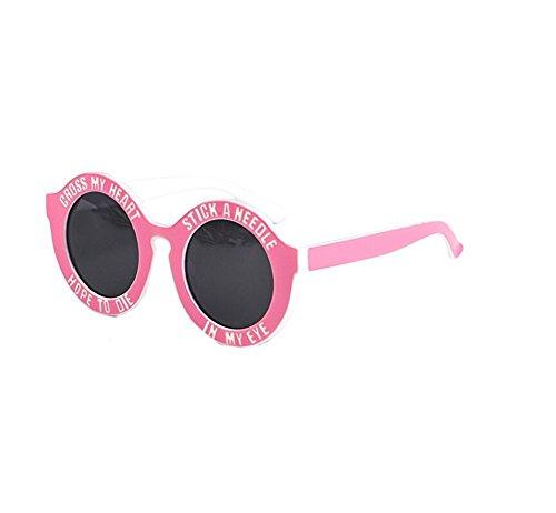 RubySports Round Circle Frame Letter Printed Fashion Sunglasses Eyewear Pink Frame White Letter Black - Cross Glasses Heart My