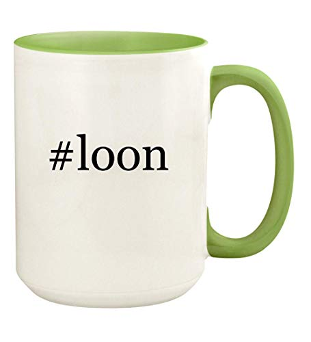 #loon - 15oz Hashtag Ceramic Colored Handle and Inside Coffee Mug Cup, Light Green