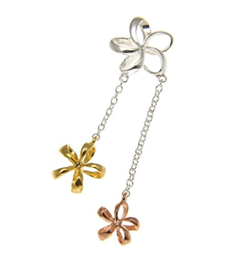 - Arthur's Jewelry 925 sterling silver tricolor plated Hawaiian open plumeria flower dangling pendant