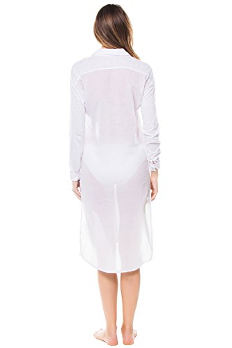 Stateside Women's Cottons Shirt Dress Swim Cover Up White M by Stateside (Image #2)
