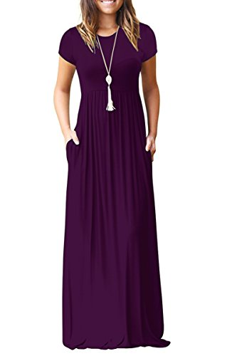 AUSELILY Women's Round Neck Short Sleeves A-Line Casual Dress with Pocket Purple Large