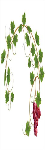 (Grapes Home Decor 3D Decorative Film Privacy Window Film No Glue,Frosted Film Decorative,Curved Ivy Branch Deciduous Woody Wines Seed Clusters Cabernet Kitchen,for Home&Office,23.6x70.8Inch Green Purp)